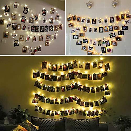 Wanxping 40 LED Foto Clip Lichterketten, Plug-in Märchen Flashing Lights, Hochzeit, Weihnachten, Haus Dekoration Beleuchtung, for Hanging Fotos, Bildkarten, Grafik (3,97 Zoll, warmes Weiß)
