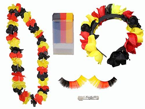 Fußball-Fan Set Deutschland: Schminkstift, Blütenkette, Wimpern, Haarreifen, 1er Pack (1 x 4 Stück)