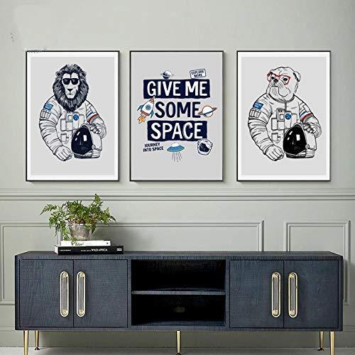MXK Arte de la Pared Impresiones en Lienzo Carteles Astronauta de Dibujos Animados Planeta Animal león Cuadros de Pared para Sala de Estar Dormitorio decoración para niños Nordic 40x60cm Sin M