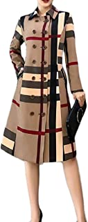 Womens Lapel Double Breasted Plaid Long Trench Coat Windbreakers
