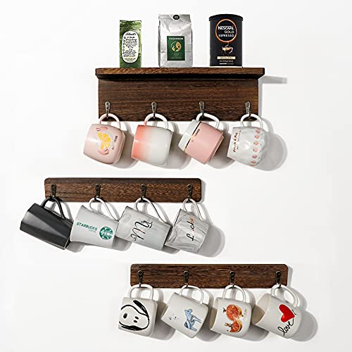 OurWarm Coffee Mug Holder Wall Mounted Rustic Coffee Mug Rack Organizer with 12 Hooks Farmhouse Wood Coffee Cup Holder Stand for Home Cafe Kitchen Display Storage and Collection Brown