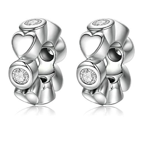 FeatherWish - Abalorio espaciador de corazón de plata de ley 925 con circonita cúbica para pulsera Pandora
