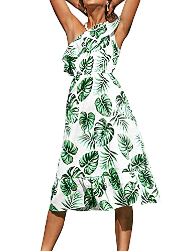 CUPSHE Women's One Shoulder Ruffle Violet Tropical Mid-Calf Dress, S