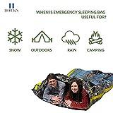 HOPEKIN Compact Mylar Emergency Survival Sleeping Bag | Survival Bivy Sack with Portable Drawstring Bag | 100% Waterproof Ultralight Thermal Emergency Blanket for Body-Heat Reflection (Camouflage)