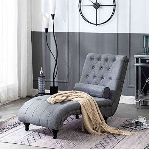 Dark Grey Indoor Chaise Lounge Chair Tufted Fabric with Pillow for Living Room Bedroom Wooden Frame