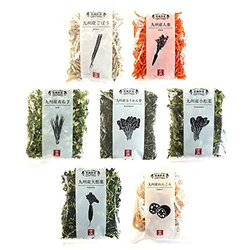 吉良食品 九州産 乾燥野菜7袋セット(小松菜・大根葉・ねぎ・ほうれん草・人参・ごぼう・れんこん)