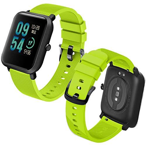 Th-some Correa para Amazfit Bip Impermeable Universal - Reemplazo de Pulsera Ajustable para Xiaomi Huami Amazfit Bip bit Lite Youth/Amazfit GTR 42mm Watch, Verde de limón Sin Tracker