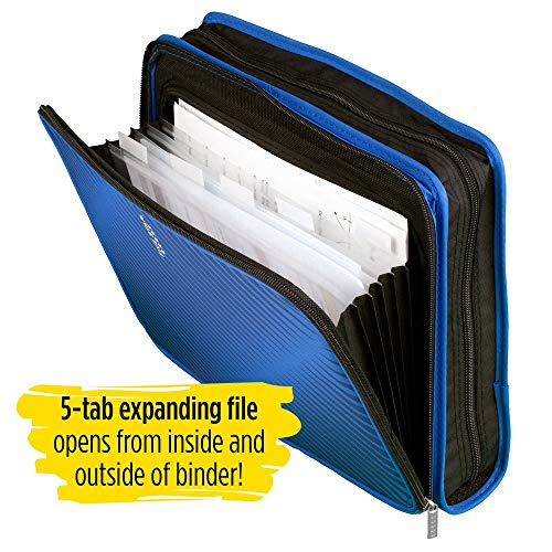 Five Star Zipper Binder, 2 Inch 3 Ring Binder, 6-Pocket Expanding File, Durable, Blue (72534) Photo #5