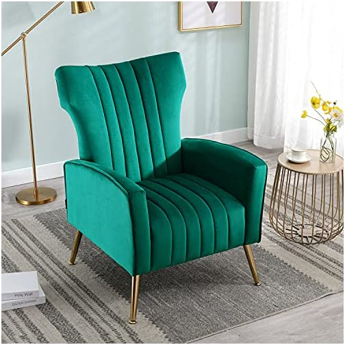 Altrobene Modern Velvet Accent Chair Vanity Decor Wingback Armchair Curved Tufted Club Adult Chair with Gold Legs for…