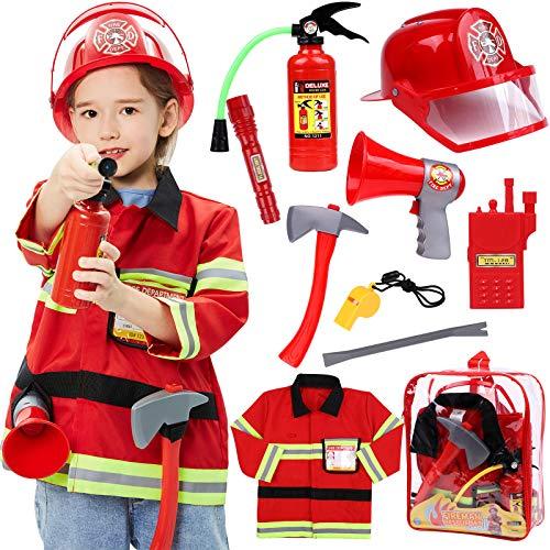 Tacobear Pompier Deguisement Enfant Pompier Costume avec Pompier Jouet Extincteur Jouet Pompier Accessoires Jeu de Rôle pour Carnaval Halloween Enfants Garçons Filles 3 4 5 6 7 8 ans