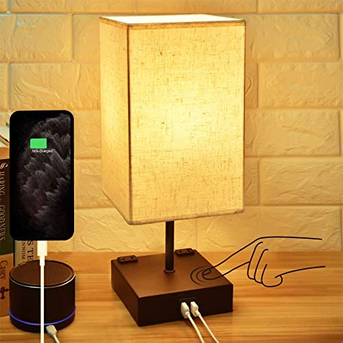 3 Way Touch Control Dimmable Bedside Lamp Hansang Modern Table Lamp with 2 USB Charging Ports product image