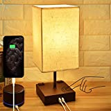 3-Way Touch Control Dimmable Bedside Lamp,Hansang Modern Table Lamp with 2 USB Charging
