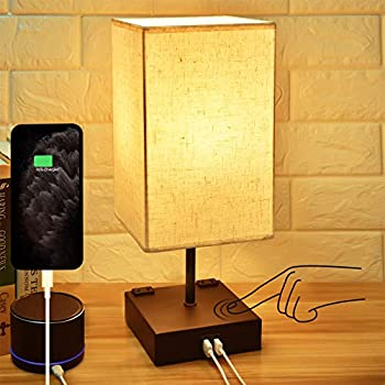 3-Way Touch Control Dimmable Bedside Lamp,Hansang Modern Table Lamp with 2 USB Charging Ports,2 AC Outlets,Nightstand Lamp Square Fabric Lampshade for Bedroom,Living Room,Dimmable LED Bulb Included