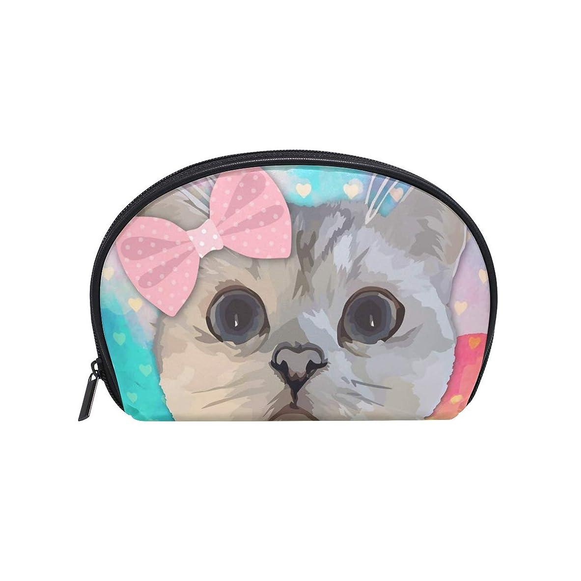 ダーツツール戦い半月型 猫柄 花柄 化粧ポーチ コスメポーチ コスメバッグ メイクポーチ 大容量 旅行 小物入れ