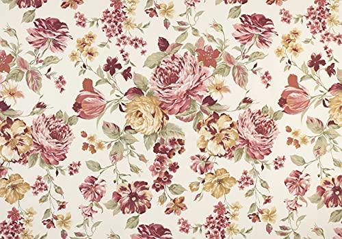 Supellex Ohrensessel »Sofia«, Design Pfingstrose, rot, beige (Design-Nr.: 5100), wahlweise mit Hocker