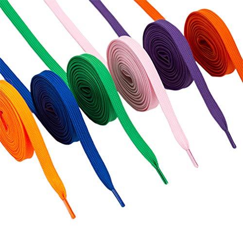 FENICAL 12 pares de cadarços coloridos planos duplos (cor misturada)