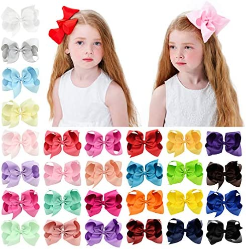 28pcs 6 Inches Grosgrain Ribbon Hair Bows Large Hair Bows Alligator Clips Hair Accessories for product image