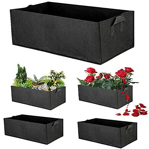 Beofine 5 Stück Stoff Angehobenes Gartenbett, Vlies Garten-Hauptgemüse-Blumen-Kinderzimmer-Topf-wachsender Beutel-Pflanzer angehobenes Garten-Bett für Kraut-Blumen-Pflanzen L