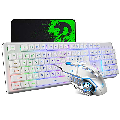 Mechanical Feeling Gaming Keyboard and Mouse Mousepad Combo,104 Keys Rainbow Backlit Gamer Keyboard and Mice Set,Large Mice pad 2400DPI 7 Button La Souris for PC Laptop Mac