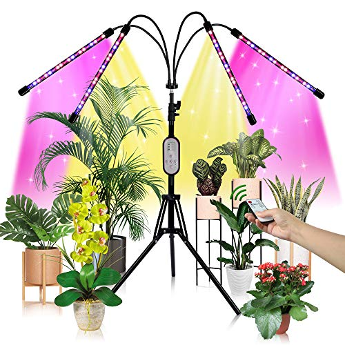 LED Grow Light with Stand, 80 LED 3 Colors Full Spectrum Four-Head Floor Grow Lights for Indoor Plants, 80W 3 Modes 10 Diammable Level Plant Growing Lamp with 4 8 12H Daily Auto ON/Off Timer