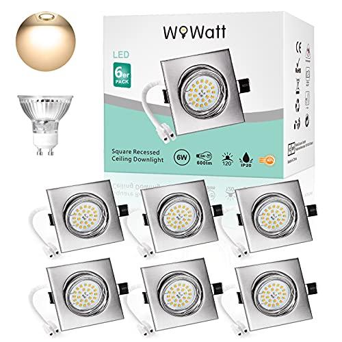 Wowatt Ojo Buey Cuadrado Blanco Calida 6W Equivalente a Halogeno 50W Incluye Bombilla GU10 600Lm Foco Empotrable Techo LED 2800K Luz GU10 LED Spots 220V para salón o dormitorio cocina 6 piezas
