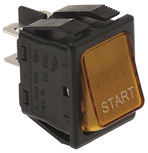 Rancilio Wippentaster für Kaffeemühle MD gelb Symbol Start 250V 2NO 2-polig Anschluss Flachstecker 6,3mm beleuchtet 16A IP40
