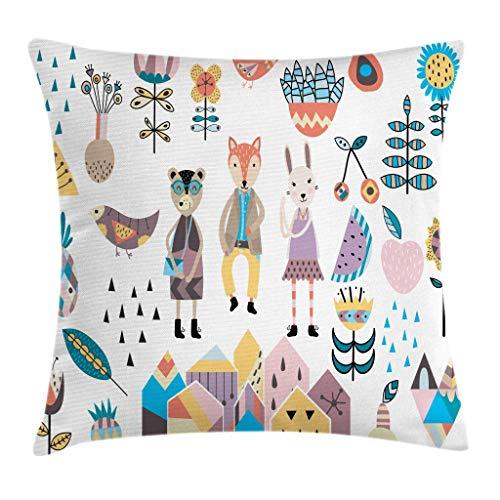 Cartoon Throw Pillow Kissenbezug, handgezeichnete Fox Bunny und Bär mit menschlicher Kleidung Scandinavian Style Cartoon Motive, 45X45 cm, Coconut Ivory