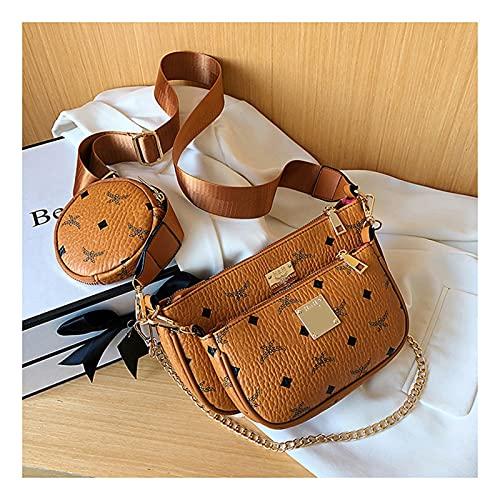 Mehrzweck Umhängetasche Damen Crossbody, 3 in 1 Luxus-Handtasche PU Leder Tragetaschen Fashion für Frauen 3-Teilig Geldbörse Reißverschluss Mode Handtaschen mit Münzbeutel ( Color : Brown , Size : L )