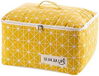 TT WARE Cotton Linen Quilts Storage Bag Clothes Organizer Bag Folding Camping Travel Luggage Bag-Yellow