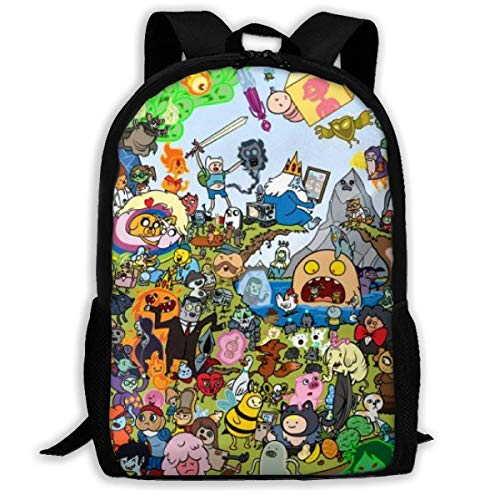 Qfunny Unisex Schultasche Rucksack Adventure Time School Backpack Lunch Bag Set School Bag Boys Girls Bookbag