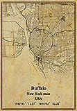 Póster de mapa del estado de Nueva York de Estados Unidos Buffalo en lienzo con impresión de estilo vintage sin marco para decoración de regalo de 45,7 x 60,9 cm