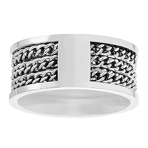 Steve Madden Oxidized Stainless Steel Triple Curb Chain Design Statement Ring for Men (Size 10)