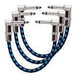 Rayzm エフェクトペダル用ケーブル、直角プラグ6.35mmモノラル、ノイズレス ギター/ベースのエフェクトペダル用ケーブル ギターシールド生地編み、ファッションのデザインで、摩擦に強い、長さ15cm、3本/セット(青)