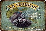 Le Pruneau Origine France 20 x 30 cm Aspect vintage en fer Plaque décorative pour maison, cuisine, salle de bain, ferme, jardin, garage, citation inspirante
