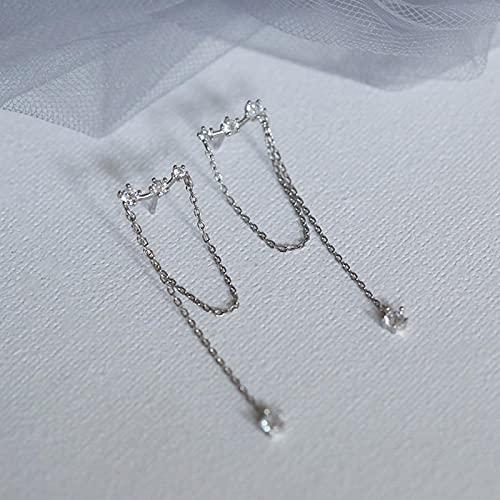 ShSnnwrl Aretes Pendientes Mujer de Plata Hombre Pendiente Pendiente Largo Minimalista de Moda Color Plateado Simple Cadena de Borla pendie