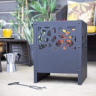 Large Fire Pit Set: Fora, Includes Hand Tool (Wood or Charcoal, Basket Log Burner Garden Heater, Chimenea Patio Wood Chiminea Tall) by La Hacienda