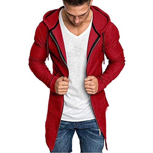 Rosennie Sweatjacke Herren Hoodie Sweatshirt mit Kapuze Strickjacke Langarm Kapuzenjacke mit Reißverschluss Kapuzenpullover Trenchcoat Slim Fit Outwear (L, Rot)