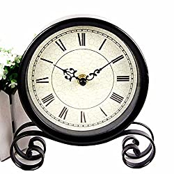 Vintage Feel 6 Desk & Shelf Clocks Is Battery Operated small sitting clock-Quiet Country Style Digital Home Furnishings Decorated HD Glass Lens, Easy to Read ,For School office home bedside black