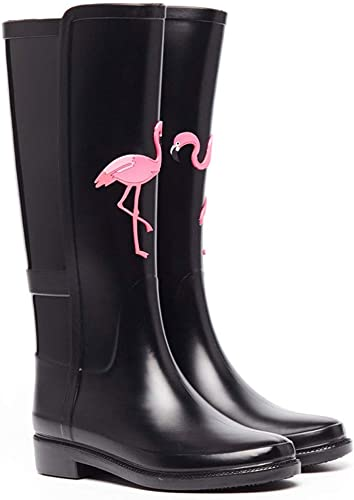 FRF botas de Lluvia- botas de Lluvia Impermeables Negras de Alta Costura para mujeres, botas de Lluvia de Goma Antideslizantes para Damas