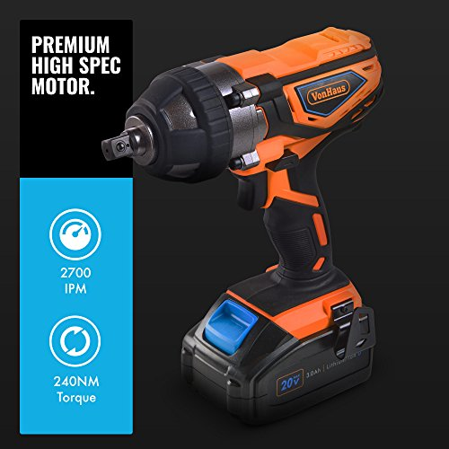 VonHaus Cordless Impact Wrench with 3.0Ah Li-ion 20V MAX Battery, Charger & Power Tool Bag - Includes Direction Control & Variable Speed Trigger (½' Square Drive, 240Nm Torque)