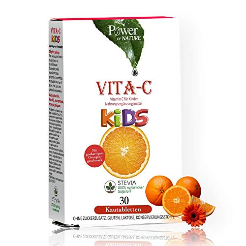 Vitamin C | Wirkstoff Speziell Für Kinder Dosiert | Monatspackung 30 Kautabletten | Mit Fruchtig Leckerem Orangengeschmack, Ohne Zucker Laktose Vegan | Herstellung Deutschland