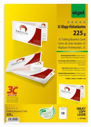SIGEL LP838 Klapp-Visitenkarten 3C, 50 Stück = 10 Blatt, beidseitig bedruckbar, hochweiß, glatter Schnitt rundum, 180x55 mm