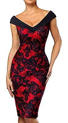 HOMEYEE Women's V-Neck Sleeveless Floral Pencil Dress B425