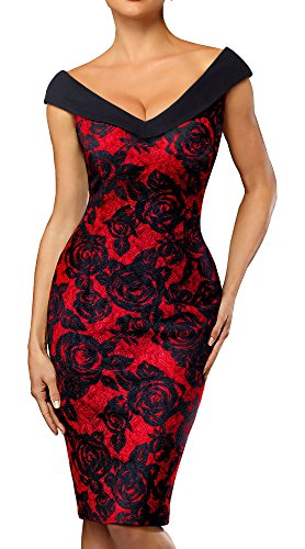 HOMEYEE Women's V-Neck Sleeveless Floral Pencil Dress B425 (12, Black+Red)