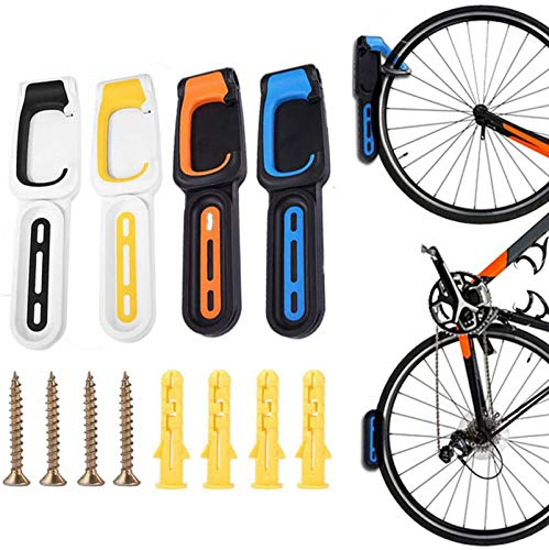 Hoimlm-Soporte de pared para bicicleta,soporte de almacenamiento de bicicleta vertical,plástico ABS,plegable,ajustable,para pared vertical,para visualización de bicicletas,ahorro de espacio (naranja)