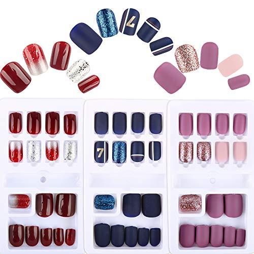 FLOFIA 90pz Unghie Finte Colorate per Ragazze Donne Adesive Unghie Artificiali Adesive Copertura Completa con Kit Biadesivo per Manicure Decorazione Nail Art Fai da Te (3 Scatole)