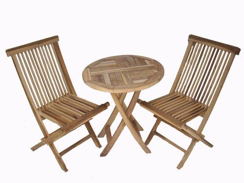 Ambientehome Teakholz Balkonset Sitzgruppe Bistroset Tisch rund, Natur, 3-teiliges Set
