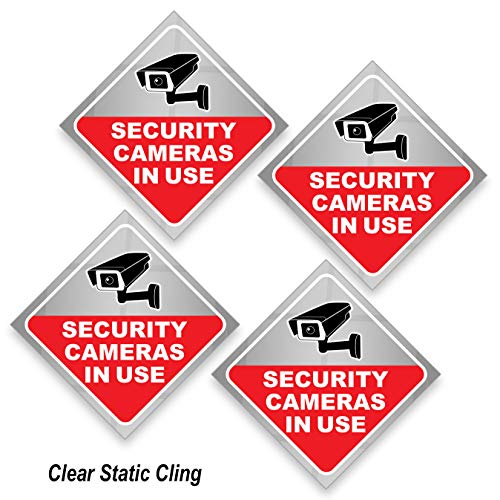 Security Camera Sticker - Video Surveillance Sign - Pack of 4, Window Cling 8 mil Thick, for Inside of Window, Facing Outside. Weatherproof