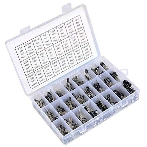 SunTop 500pcs Kit Surtido de Condensadores Electrolíticos 24 Values de 0.1UF - 1000UF, Condensadores electrolíticos Juego surtido del surtido negro