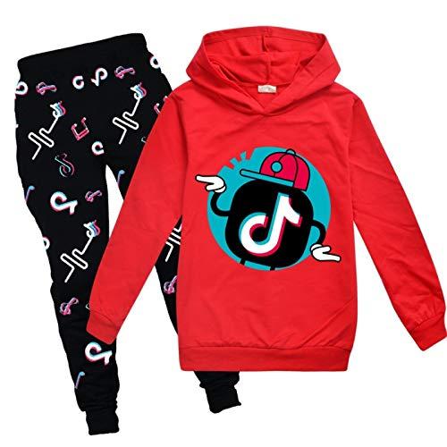 NIGHTMARE Conjunto de Pantalones con Capucha TIK Tok para niña, Sudadera Fresca, Conjunto de Ropa Unisex para Hombre, Pantalones, suéter de Moda TikTok + Pantalones Rojos 100cm